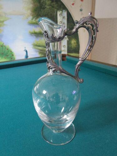 Cristallerie de Lorraine Claret Jug  EWER ornate silver-plate repousse of LEAVES