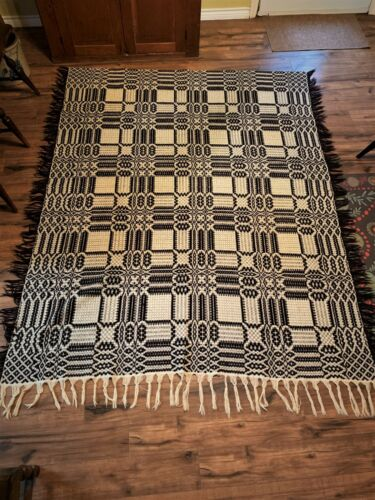 woven coverlet 2 colors brown and white