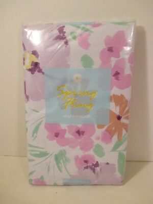 Easy Wipe Vinyl - ELRENE Floral Vinyl Easy Wipe Kitchen Party Tablecloth~Oblong 52
