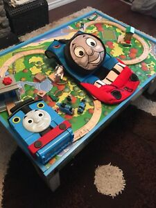 Thomas the tank engine table with lots of track parts