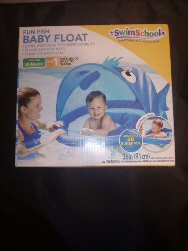 SwimSchool Blue Fun Fish Fabric Baby Boat, Retractable Canop