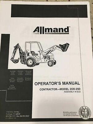 Allmand Model 20d - 25d Assembly 0022 Operators Manual