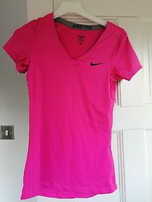 Nike Pro V-neck T-shirt Dri Fit Womens Pink Size Small Running Gym Jogging