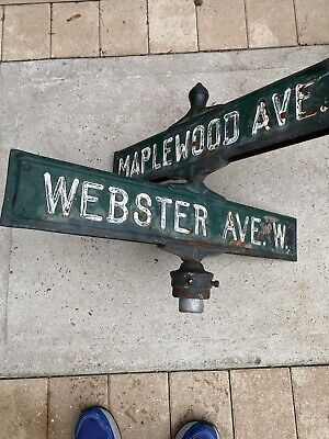 Vintage Rare Double sided Cast Iron Street Sign