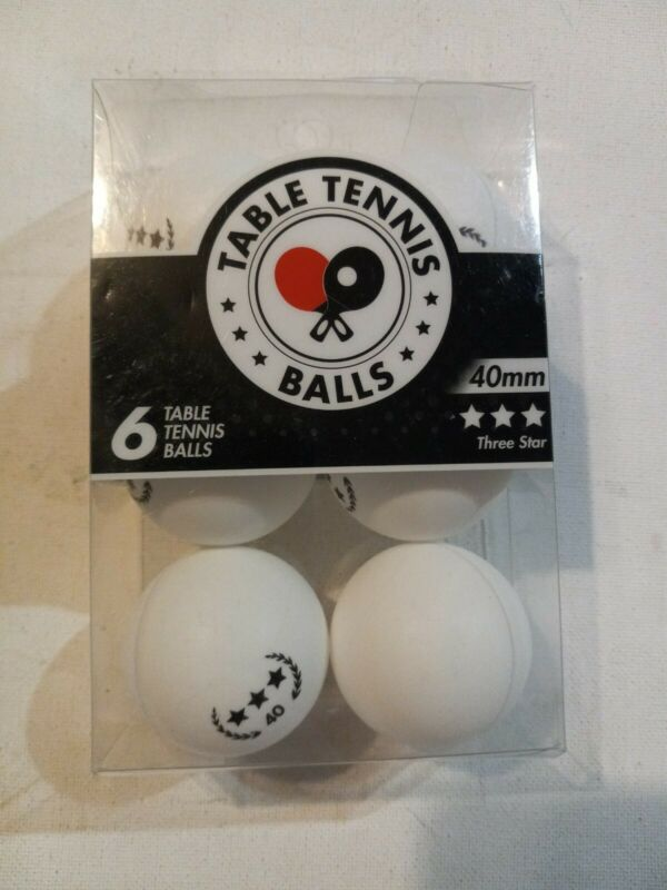 Table Tennis, Ping Pong Balls Pack Of 6, 40 mm, 3 Stars