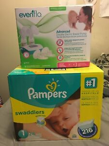 1# diapers, breast pump, two bags of clothes