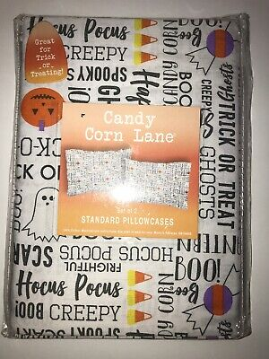 BRAND NEW! In Package Candy Corn Lane Set of 2 Standard Pillow Cases 100% Cotton