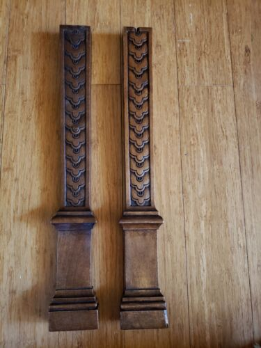 "#4 PAIR ANTIQUE CARVED WALNUT FLAT TRIM COLUMNS - 18"" h - ORNATE"
