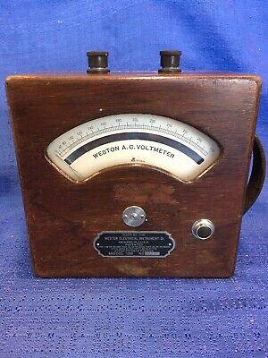 Weston Electrial Amp Meter Model 155 Wood Case Vintage