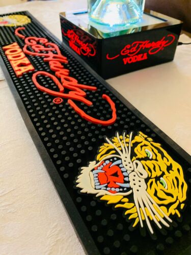 **ED HARDY** BEVERAGE BAR COCKTAIL SHOT RUBBER SPILL MAT & LED BOTTLE DISPLAY
