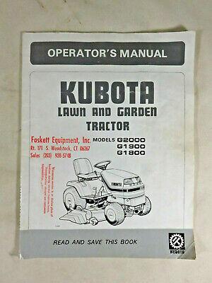 Kubota G1800 G2000 G1900 G1800 Tractor Rotary Mower Deck Operators Manual