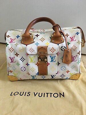 Authentic  LOUIS VUITTON Multi-Color White Speedy 30 Handbag Good Condition