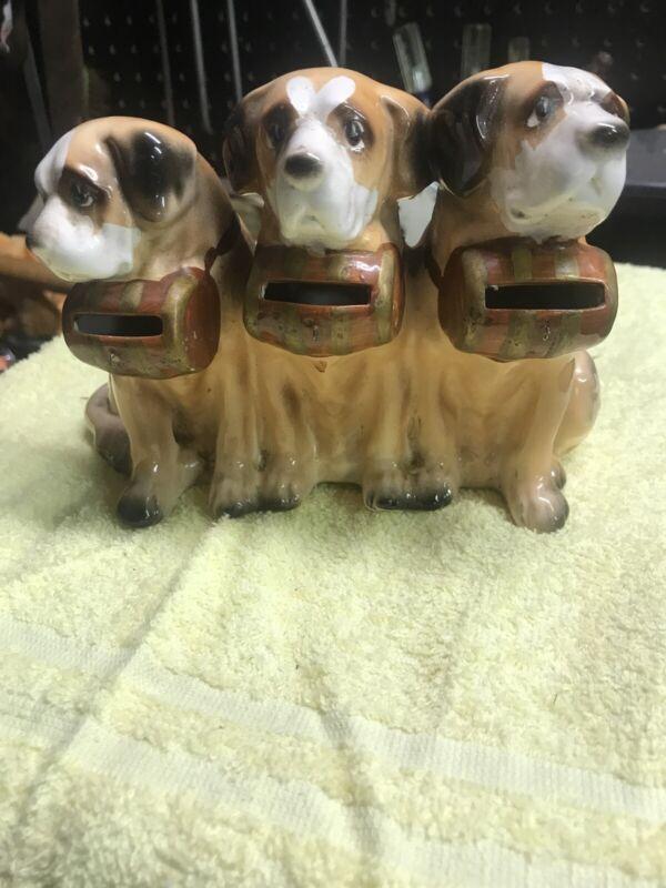 VINTAGE TILSO- 3 Dogs Piggy Bank Very Rare & Unique