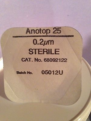 13 Whatman Anotop 25 Inorganic Syringe Filter Cat. No. 6809-2122  .2 Um Micron