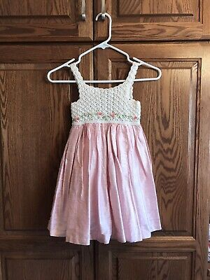 VICTORIA KIDS Girls DRESS Crochet Ivory Top Floral Pearl Tulle Lined SIZE 3 YRS
