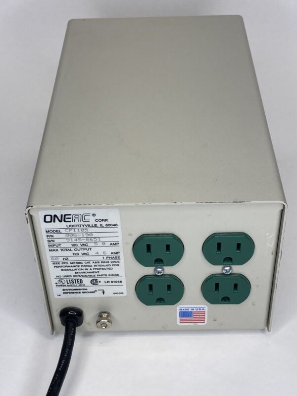 ONEAC CP1105 Power Line Conditioner; Excellent Working Condition Green Outlets