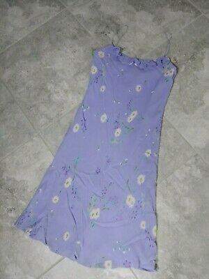 RALPH LAUREN Womens 8 Lavender Purple Floral Slip Ruffle 100% Rayon Dress