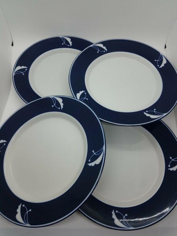4 Dansk Flora Indigo Dinner Plates