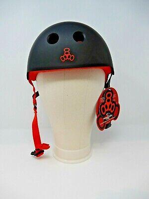 NEW Triple Eight Sweatsaver Liner Skateboarding Helmet, Black Rubber w/ Red, Med