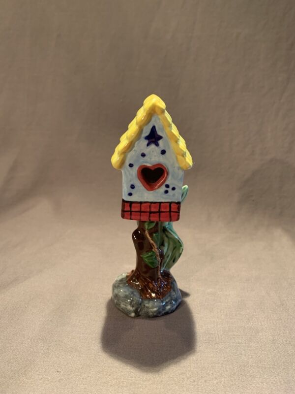 Fairy Garden Bird HouseArt Pottery Artist Signed Whimsical Primary Colors