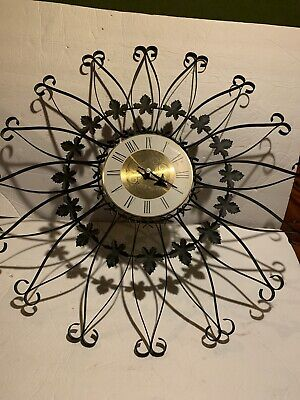 Mcm Black Wrought Iron Scroll Large Wall Clock Vintage 1960s Gold Face