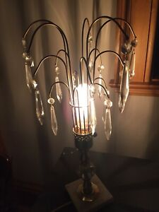 Antique crystal and marble table or bedside table lamp