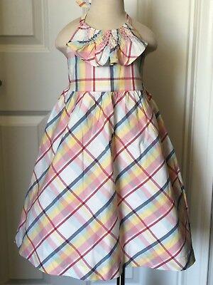 NWT Janie & Jack Dress Summer Sweet Tea Pastels Plaid Halter Dress 2 Sundress (Sweets Dress)