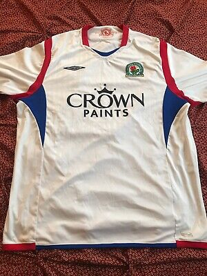 WHITE UMBRO BLACKBURN ROVERS FC 09/10 AWAY JERSEY SZ UNKNOWN, POSSIBLY XL or 2XL 09 Away Jersey