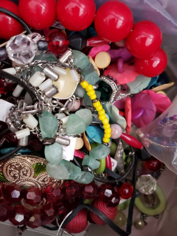 lbs Jewelry Lot unrsearched, untested, estate finds,  medium Mixed lot box full,