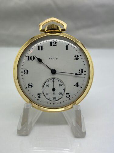 1921 Elgin Grade 384 Model 3 Class 114 17J 12S 10K RGP Pocket Watch SEE VIDEO