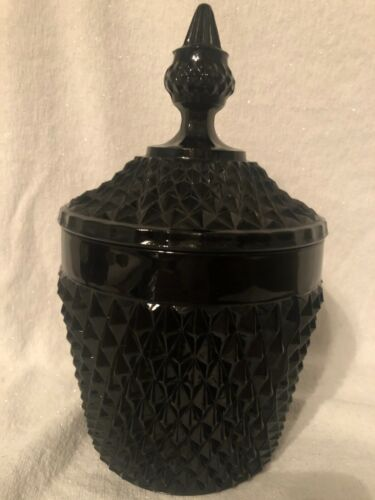 Vintage Indiana Black Diamond Point Tiara Glass Ice Bucket With Lid