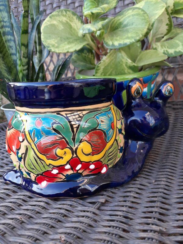 Mexican Talavera Yard Art Garden Pottery Snail Planter Pot
