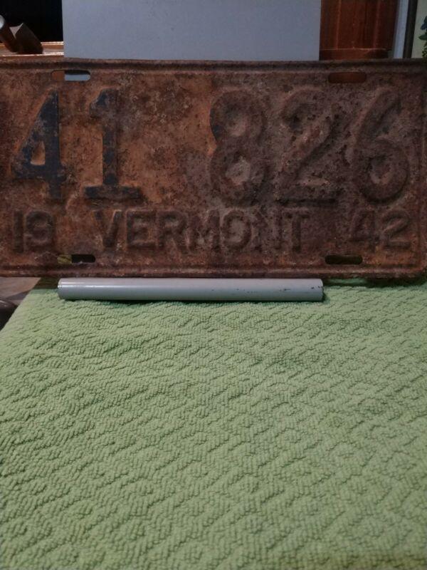 Vintage 1942 Vermont License Plate