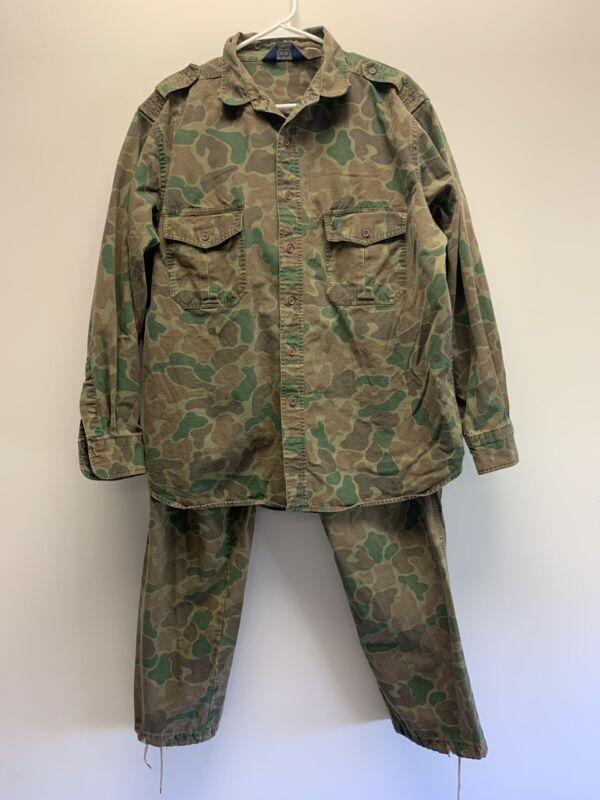 Vintage Woolrich Duck Camo Frogskin Camouflage Suit Sz XL Shirt & Pants Ripstop