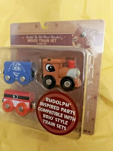 Rudolph The Red Nosed Reindeer BRIO 3 Piece Wood Train Set