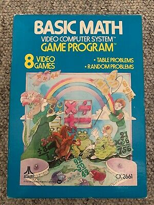 Atari 2600 Basic Math Complete with Box and Instructions - Good Condition *Rare*