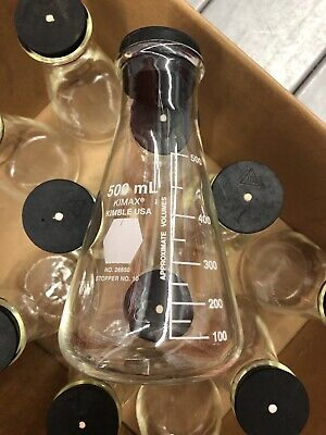 12 Kimax Glass 500ml Wide Mouth Erlenmeyer Flask 26650 Lab Glassware Pyrex