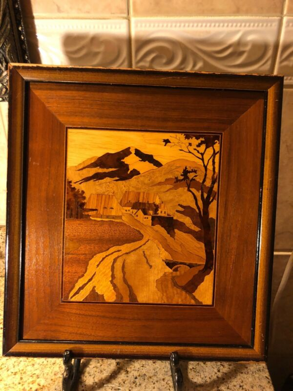 Antique PICTORIAL MARQUETRY IN WOOD Martin-Barriss Co.