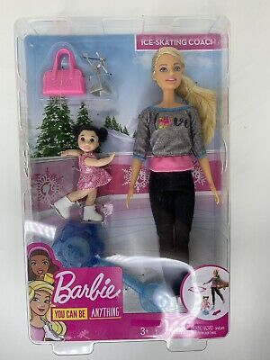 Barbie Ice-Skating Dolls & Playset with Blonde Coach Barbie Doll, Brunette Small