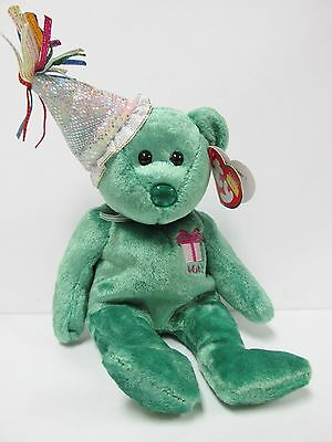 Ty Beanie Baby May w/Party Hat Birthday Beanie Collection PRISTINE New-Mint - Party Ty