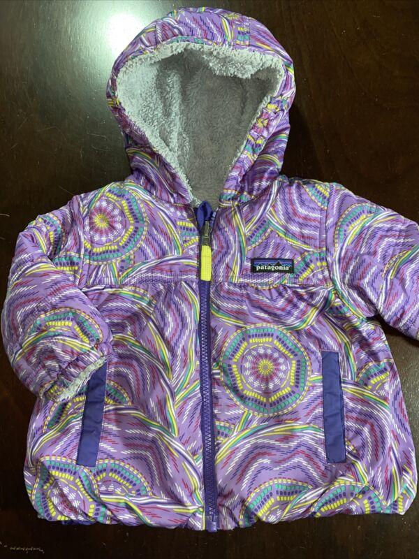 Patagonia Baby Reversible Honey Puff Hoody Girls Sz 6-12 M Infant Jacket Print