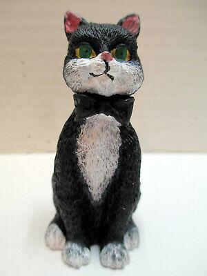Black Cat Figurine w/ Bow Tie & Green Eyes Kitty Kitten Resin Napkin Ring Holder