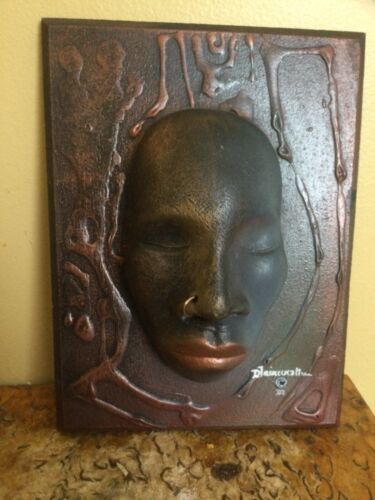 SIgned Donovan Fairweather Ceramic Sculpture Mask Wall Hanging- Afro-Centric