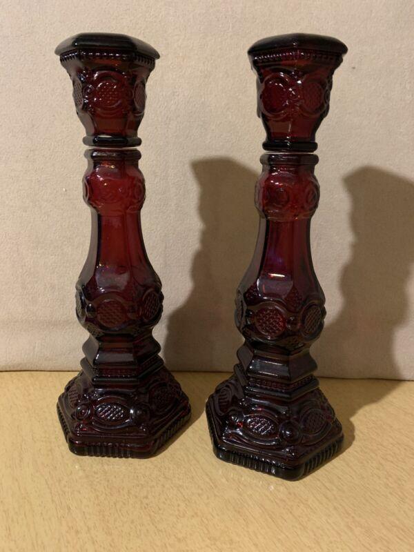 "Avon 1876  Cape Cod 2 ruby red tall candlesticks 8.5 """