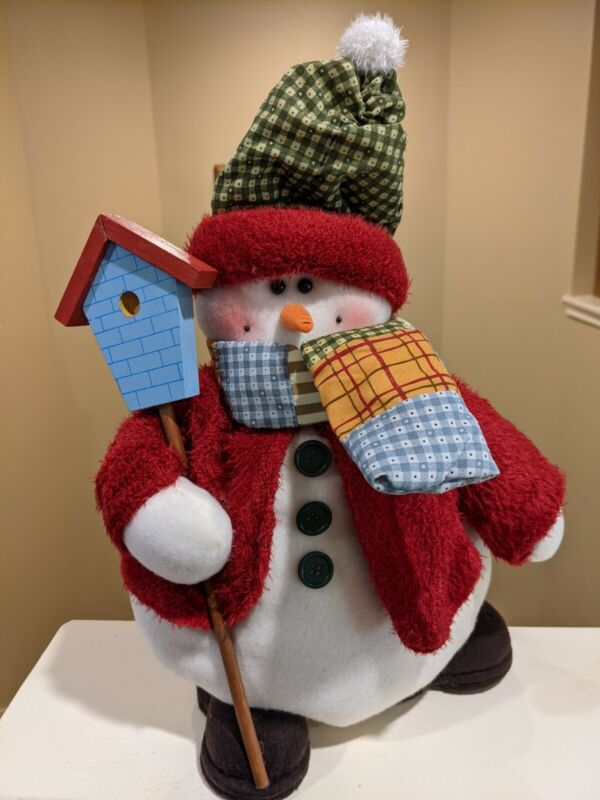Plush Snowman with Red Coat Scarf Check Hat and Wooden Birdhouse 18 Inches Tall