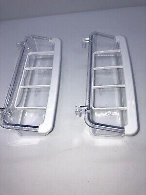 2 Bird Cage Feeders Feeding Cups  Clear Plastic grid food seed 15 cm Lot Of 2