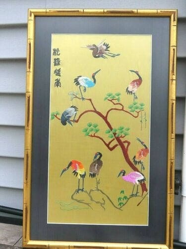 Japanese Embroidery framed picture bird crane silk Asian embroidered tree branch