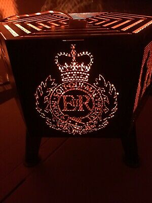"""Lest We Forget"" soldier hexagonal fire pit Royal Engineers natural finish"