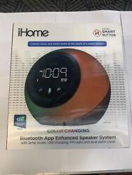 iHome iBT297 Bluetooth Alarm Clock Radio and Color Changing Wireless Speaker USB