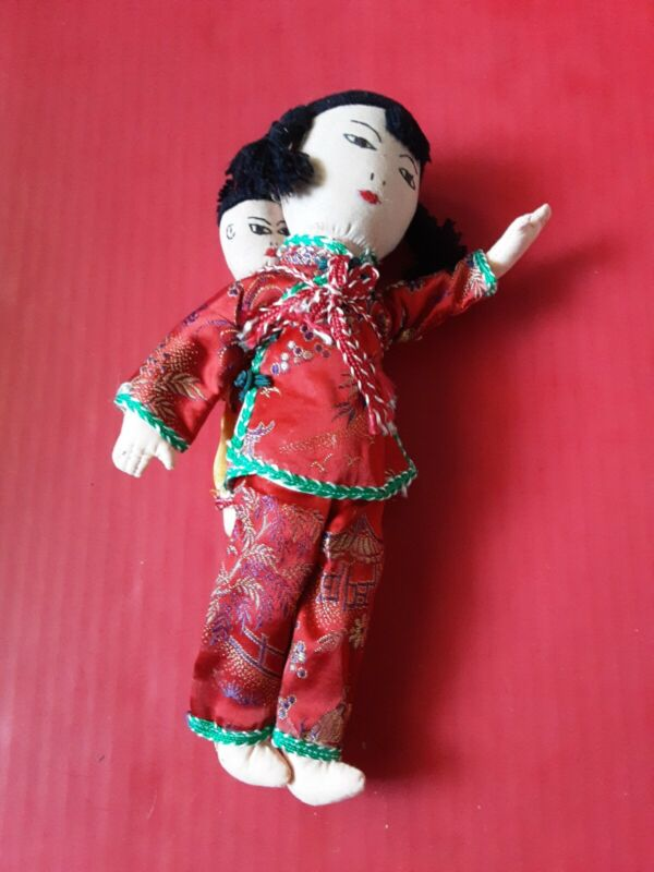 """Vintage Chinese Cloth Doll Embroidered Features 11"""" Antique  Tag Doll"""